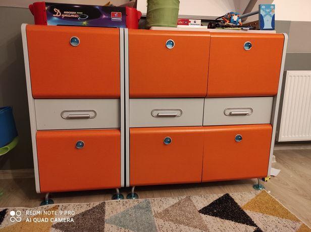 Dwie szafki BRW pomarańczowo-szare