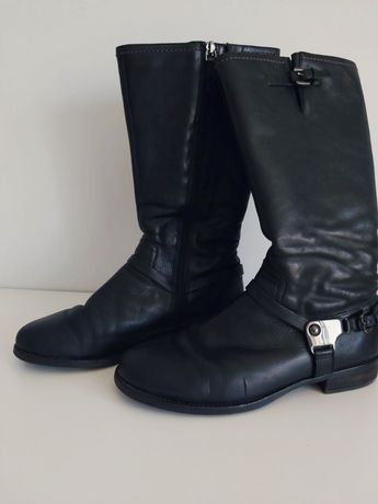 Черные кожаные сапоги Ecco 41 р.
