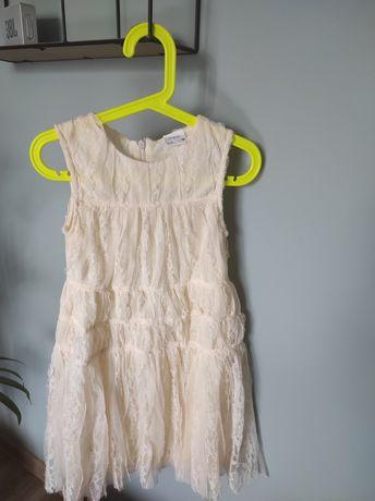 Sukienka sukieneczka Zara r.128 ecru koronkowa ślub przyjęcie