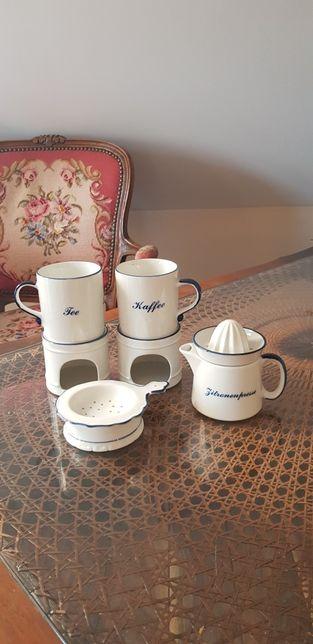 Porcelanowy zestaw do kawy lub herbaty z podgrzewaczami