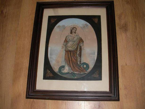 obraz stary unikat zdobiony w starej ramie nadruk piękny