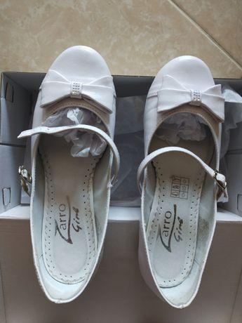 Buty skórzane białe komunijne dla dziewczynki Zarro komunia