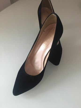 Buty zamsz czarne 37