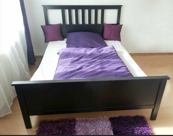 Łóżko IKEA Hemnes 140x200 czarnobrąz. Stelaż i materac