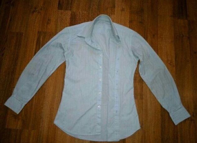 Школьная рубашка голубая с длинным рукавом на мальчика парня 15-17 лет