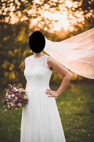 rustykalna suknia ślubna DAJANA koronka muślin ivory 36 38 Mary-Lill