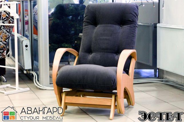 """Велюровое кресло - качалка глайдер для отдыха в гостиную """"Эстет"""""""