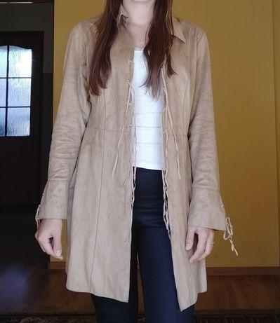 Narzutka blezer cienki płaszczyk damski L 40 brązowy zamszowy wiosenny