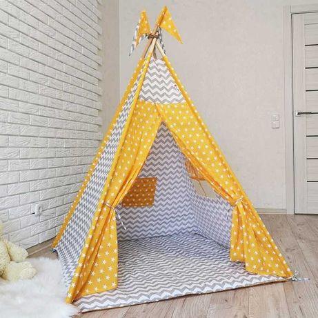 Детский вигвам палатка желтые звезды со стеганым ковриком