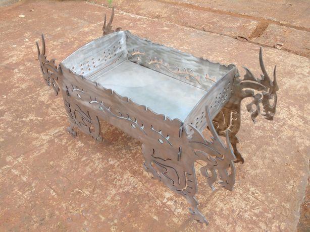 """Разборной мангал из нержавейки """"Драконы"""" (толщина 4 мм) для пикников"""