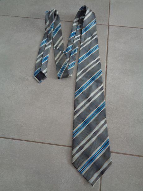 Krawat / SPRAWNY / 150 cm / szary / niebieski / w paski / biały