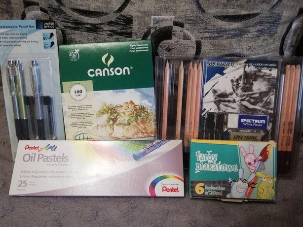 Zestaw artysty - pastele, ołówki, blok rysunkowy i farby