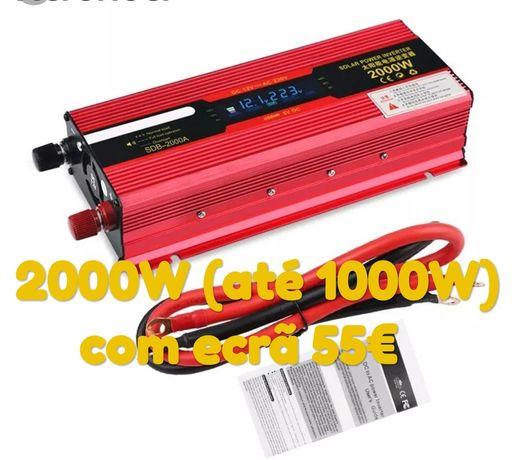 Inversor 2000W ou 3000W - 12V ou 24V para 220V, saída USB