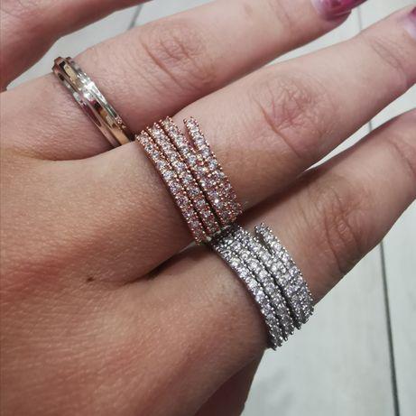 Кольца серебро в родии, серебро в золоте, напайки золота 375 и фианиты