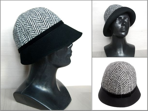 Шляпа клош гленчек черная комбинированная