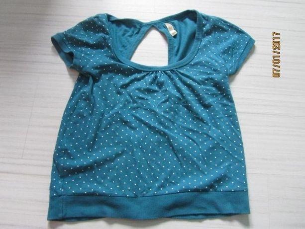 t-shirt bluzka turkusowa wycięte plecy XS S house