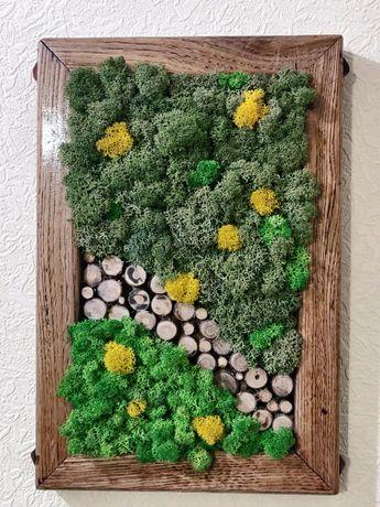 Рамка дубовая декор стабилизированный мох