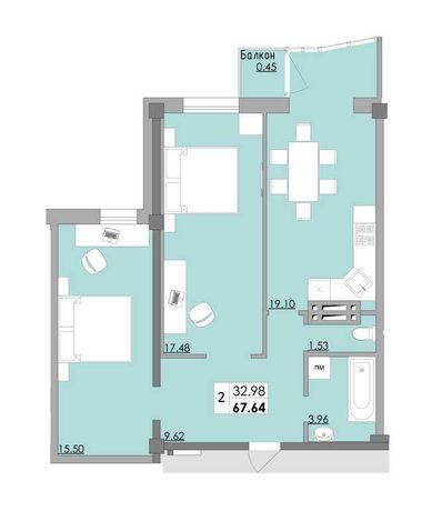 Продам 2 комн. квартиру в новом доме