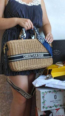 Соломенная сумка диор 36 см ,пляжная сумка