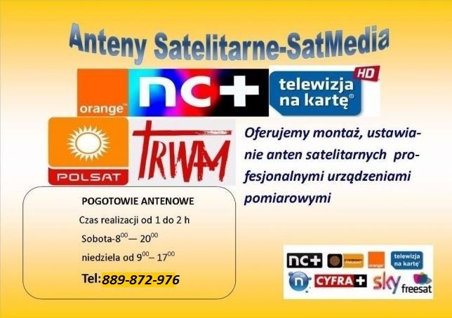 Antena satelitarna 80 cm CORAB USTAWIANIE ANTEN SAT- DVBT Biłgoraj