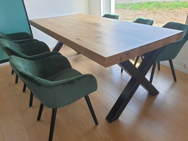 Stół dębowy nowoczesny na wymiar industrialny metalowe nogi