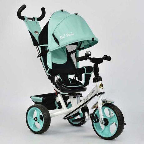 Детский трёхколёсный велосипед Бирюзовый, родительская ручка, ровер