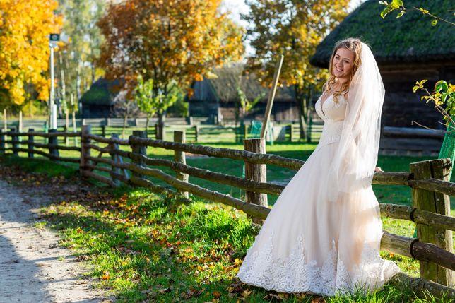 Suknia ślubna brzoskwiniowa, szampan,