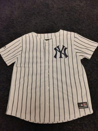 Bluzka baseballowa New York 7-8 lat biała czarne paski