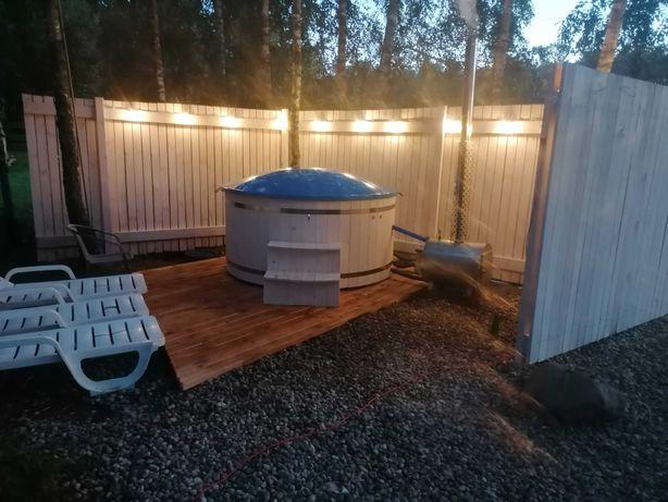 Dom w lesie , Mazury, Kiersztanowo, Mrągowo, balia z jacuzzi, sauna