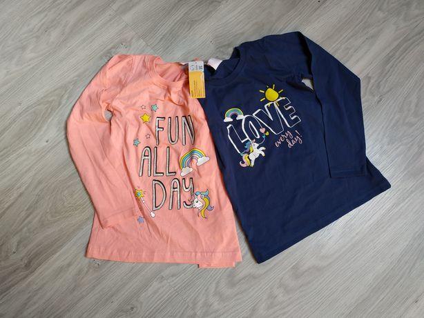 Nowa!2x Koszulka dziewczęca bluzka t-shirt koszulki bawełniane 122-128