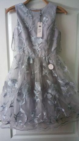 Кружевное платье, серое платье, выпускное платье, новогоднее платье