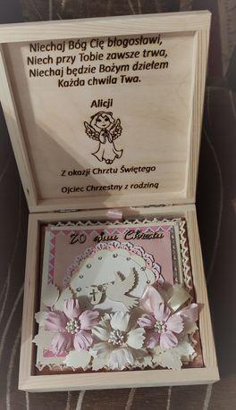 Pudełko drewniane Chrzest pamiątka