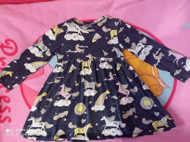 Next нарядное платье Единорог 104/110