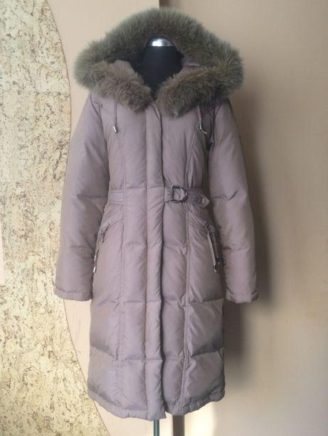 Теплый пуховик /пальто темно-пудрового (кофейного) цвета. Пух80%