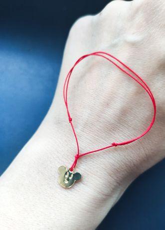 Myszka Minnie Miki bransoletka szczęście sznurkowa sznurku czerwona