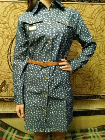 Джинсовый платье-халат