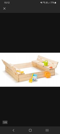 Piaskownica drewniana zamykana z ławeczkami 120