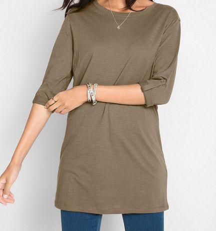Tunika bluzka z bawełny w kolorze oliwkowym BPC r 36/38