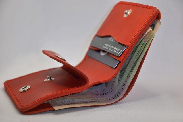 Красный кожаный женский кошелек, сделаю тиснение любых слов или лого
