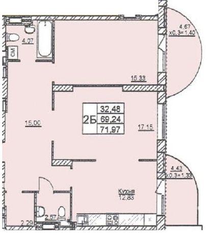2-х ком в новом доме на Черемушках 72м2 в рассрочку