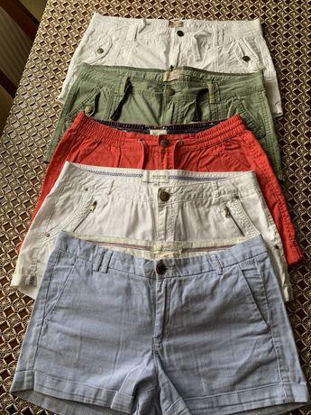Spodenki 38 ( M) białe, czerwone, khaki, w paseczki - H&M, kapp ahl