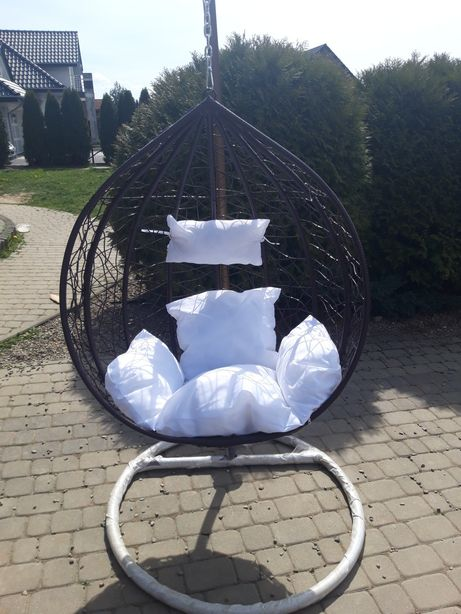 Fotel wiszący bujany ogrodowy poduszki gratis brazowy