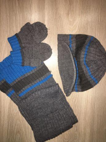 Комплект шапка, шарф, варежки
