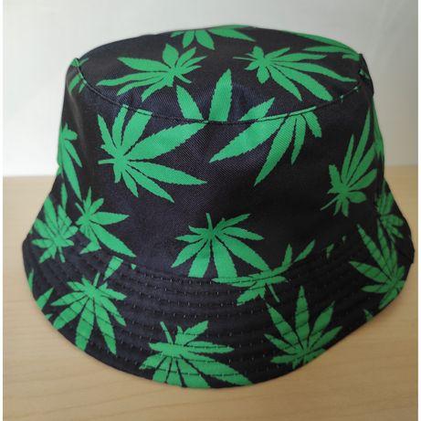 Dwustronny bucket hat kapelusz czapka rybaczka ganja marihuanki retro