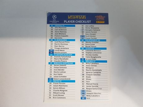 Player Checklist Champions League 2012/2013 Update Panini