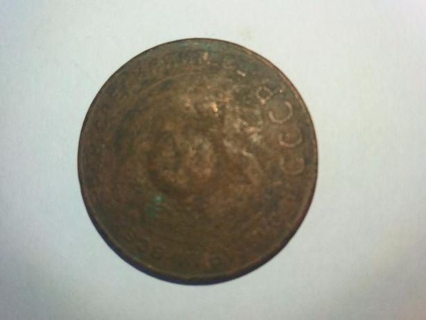 Монета ссср. 5 копеек 1924 года.медь. гурт гладкий.