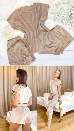 Мягкая осенняя пижама, плюшевая, комплект тройка, одежда для дома