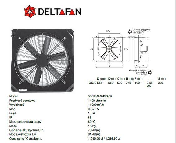 Wentylator Deltafan 560/R/6-6/45/400 + obudowa na filtr i przepustnica