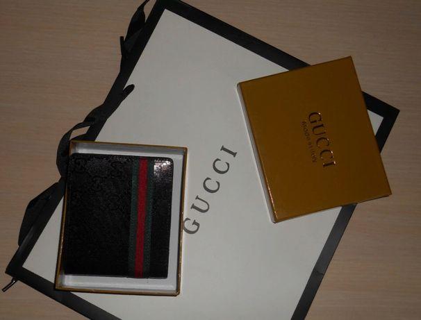 Skorzany PORTFEL MĘSKI Gucci w pudelky, skóra, Włochy 60223