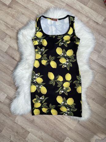 Летнее платье-майка принт «лимоны»